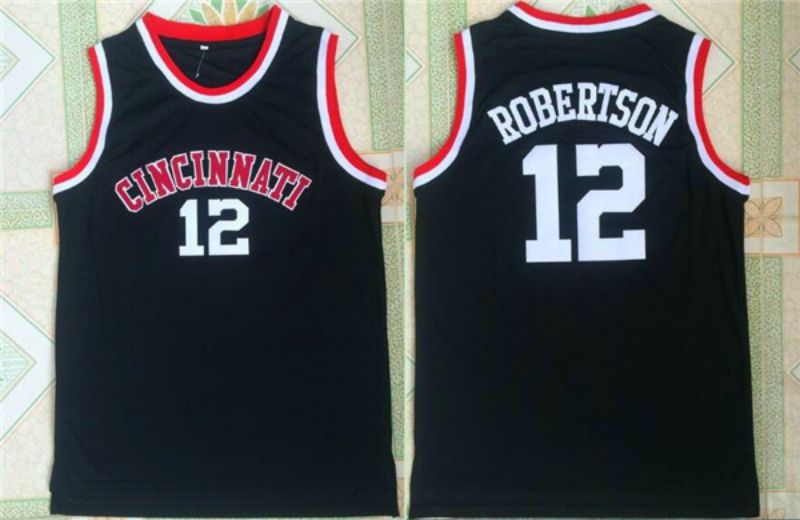 Men University of Cincinnati 12 Robertson Black NBA NCAA Jerseys