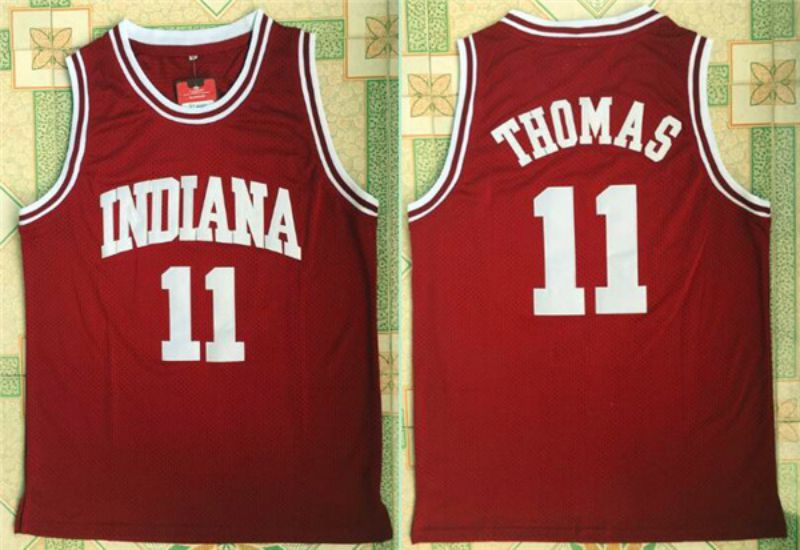 Men University of Indiana 11 Thomas Red NBA NCAA Jerseys