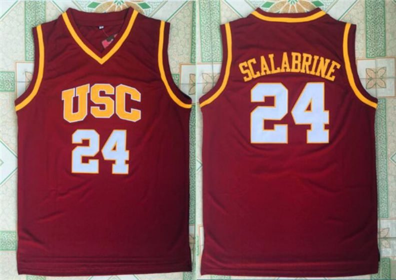 Men University of Southern Calif USC 24 Scalabrine Red NBA NCAA Jerseys