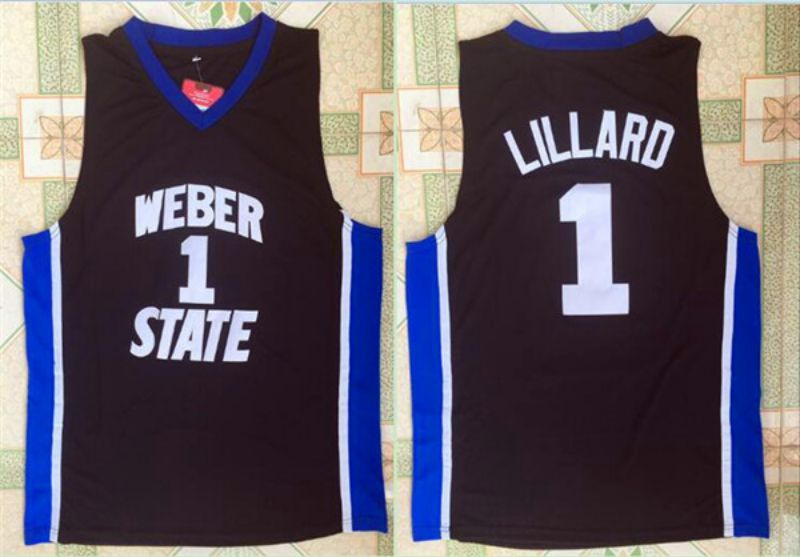 Men Weber State University 1 Lillard Black NBA NCAA Jerseys
