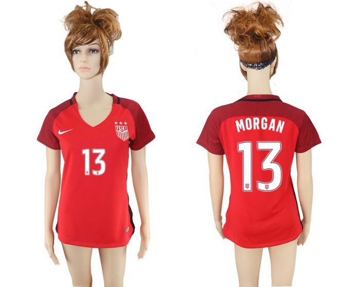 National 2017-2018 United State away aaa women 13 red soccer jersey