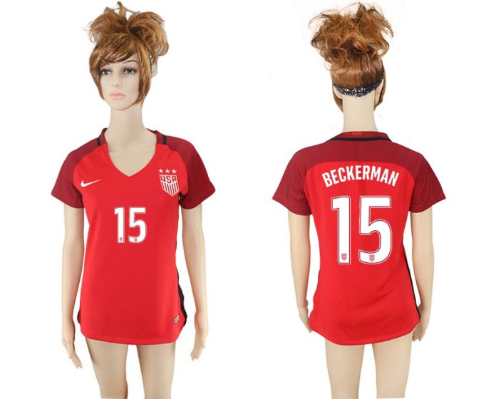 National 2017-2018 United State away aaa women 15 beckerman soccer jersey