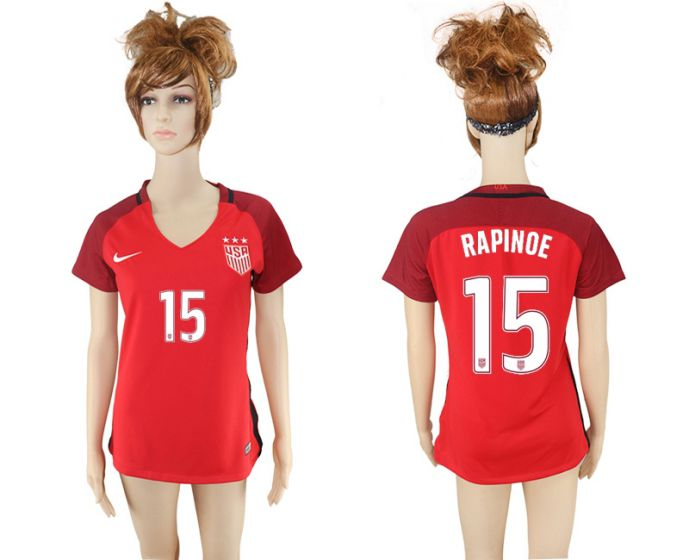 National 2017-2018 United State away aaa women 15 red soccer jersey