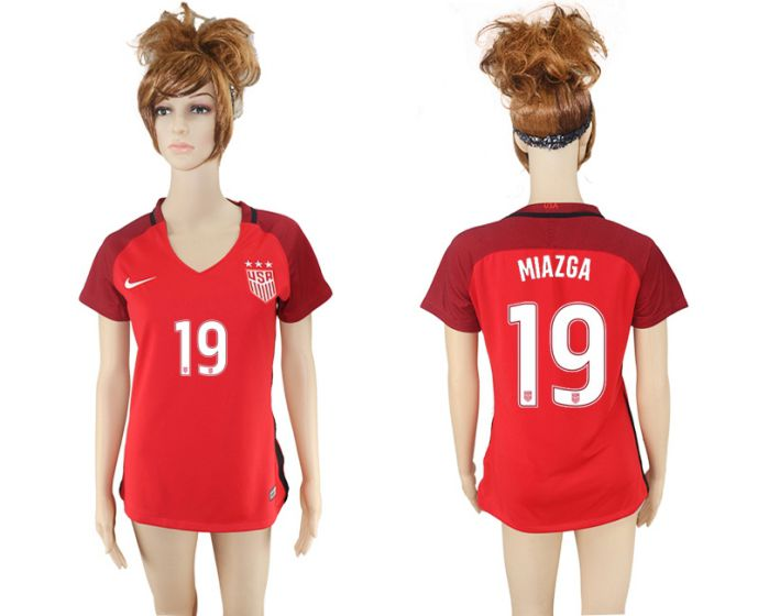 National 2017-2018 United State away aaa women 19 red soccer jersey