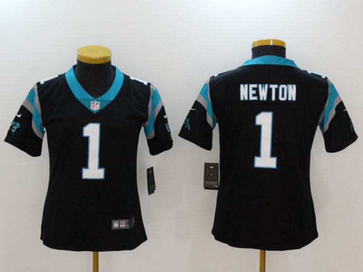 Women Carolina Panthers 1 Newton Black Nike Vapor Untouchable Limited NFL Jerseys
