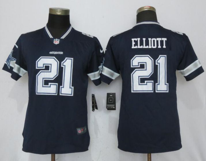 Women Dallas cowboys 21 Elliott Blue Nike Vapor Untouchable Limited NFL Jerseys