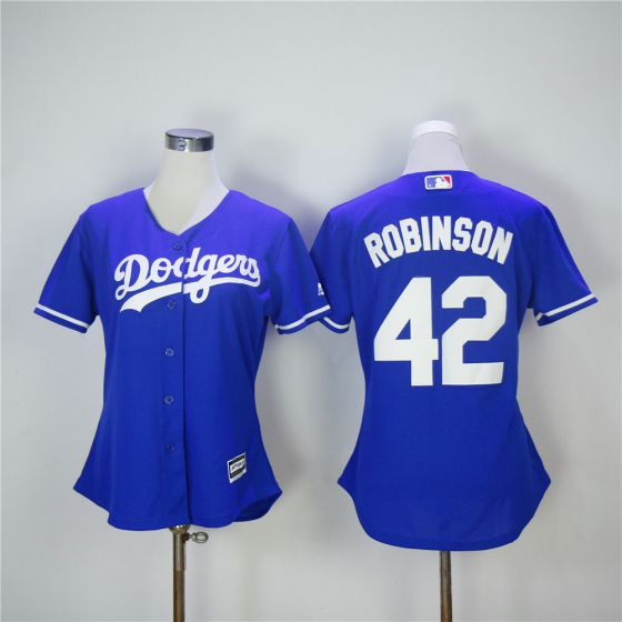 Women Los Angeles Dodgers 42 Robinson Blue MLB Jerseys