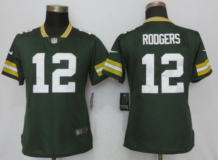 Women New Nike Green Bay Packers 12 Rodgers Green 2017 Vapor Untouchable Elite jersey