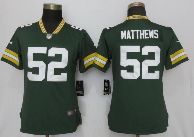 Women New Nike Green Bay Packers 52 Matthews Green 2017 Vapor Untouchable Elite jersey