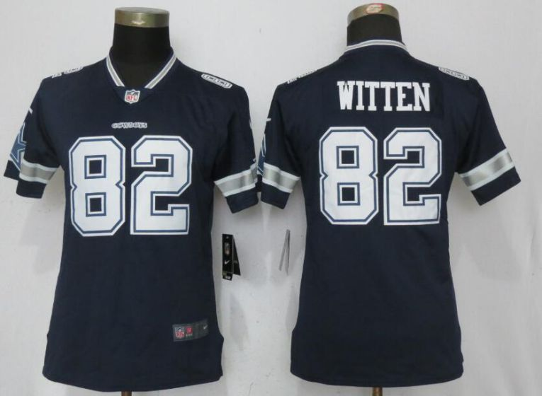 Women Nike Dallas cowboys 82 Witten Blue 2017 Vapor Untouchable Elite jersey