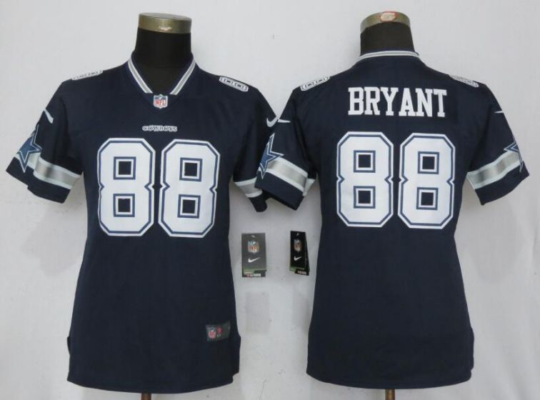 Women Nike Dallas cowboys 88 Bryant Blue 2017 Vapor Untouchable Elite jersey