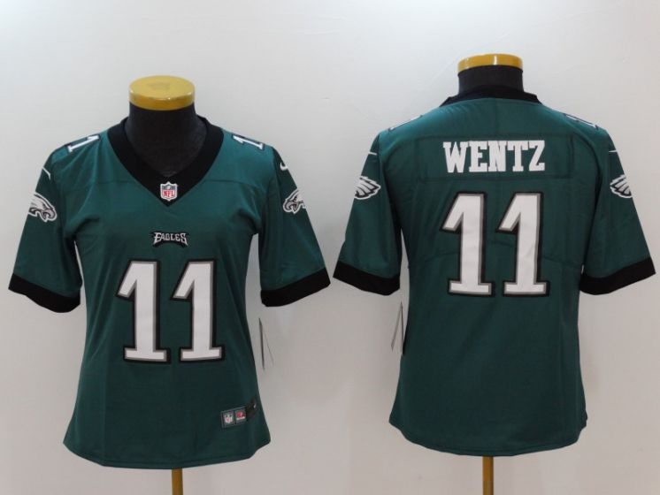 Women Philadelphia Eagles 11 Wentz Green Nike Vapor Untouchable Limited NFL Jerseys