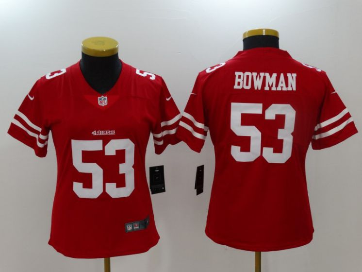 Women San Francisco 49ers 53 Bowman Red Nike Vapor Untouchable Limited NFL Jerseys