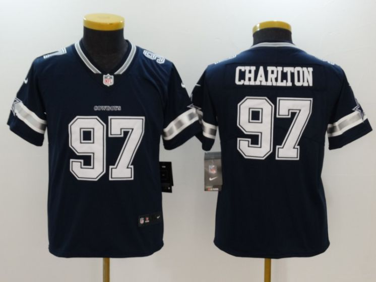 Youth Dallas Cowboys 97 Taco Charlton Blue Nike Vapor Untouchable Limited NFL Jerseys