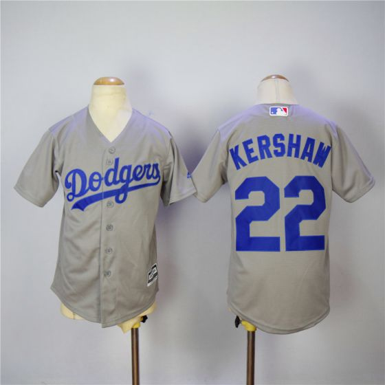 Youth Los Angeles Dodgers 22 Kershaw Grey MLB Jerseys
