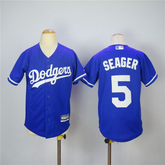 Youth Los Angeles Dodgers 5 Seager Blue MLB Jerseys