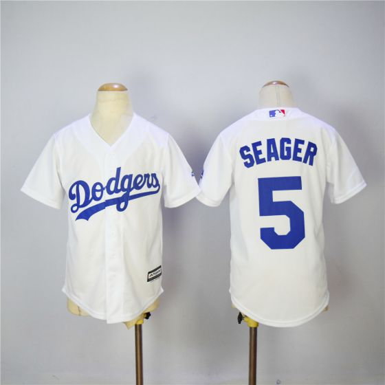 Youth Los Angeles Dodgers 5 Seager White MLB Jerseys