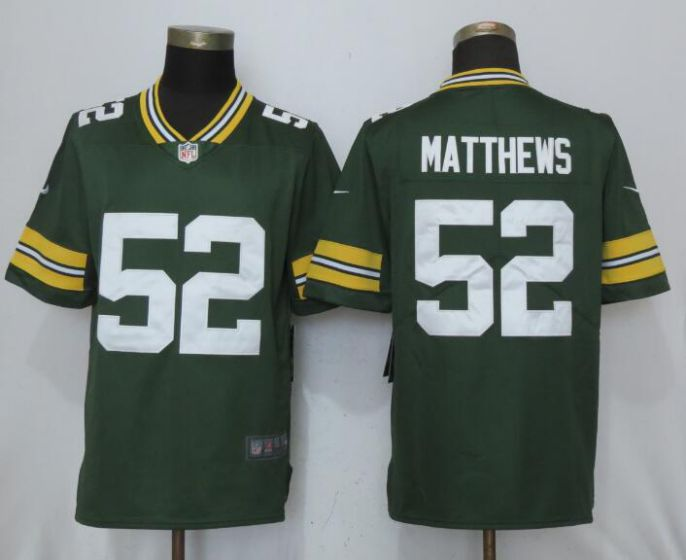 men NFL New Nike Green Bay Packers 52 Matthews Green 2017 Vapor Untouchable Limited Jersey