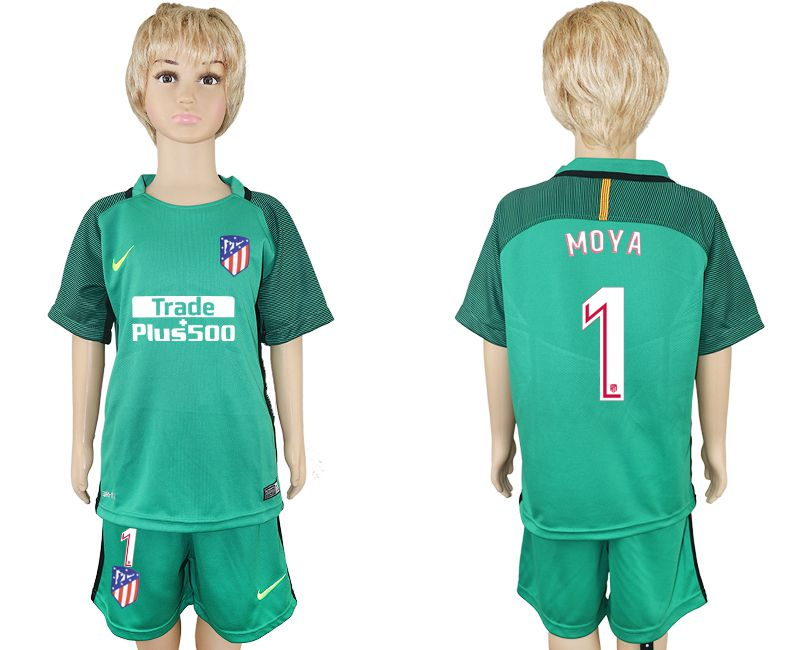 2017-2018 club Atletico Madrid 1 gardien de but vert enfants maillot de football