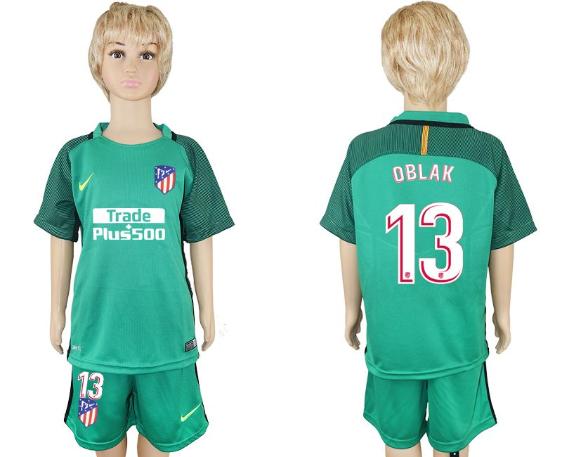2017-2018 club Atletico Madrid 13 green goalkeeper kids soccer jersey
