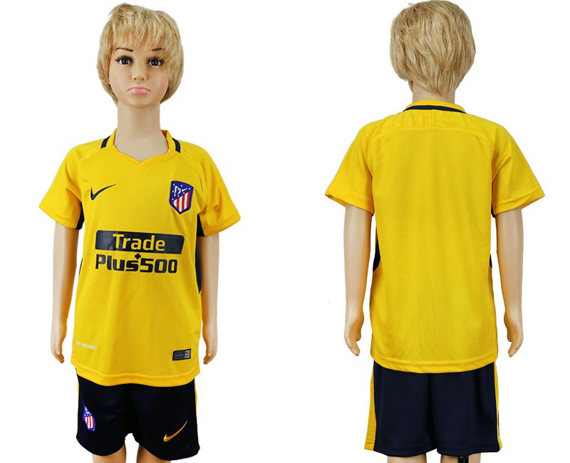 2017-2018 club Atletico Madrid away blank yellow kids soccer jersey