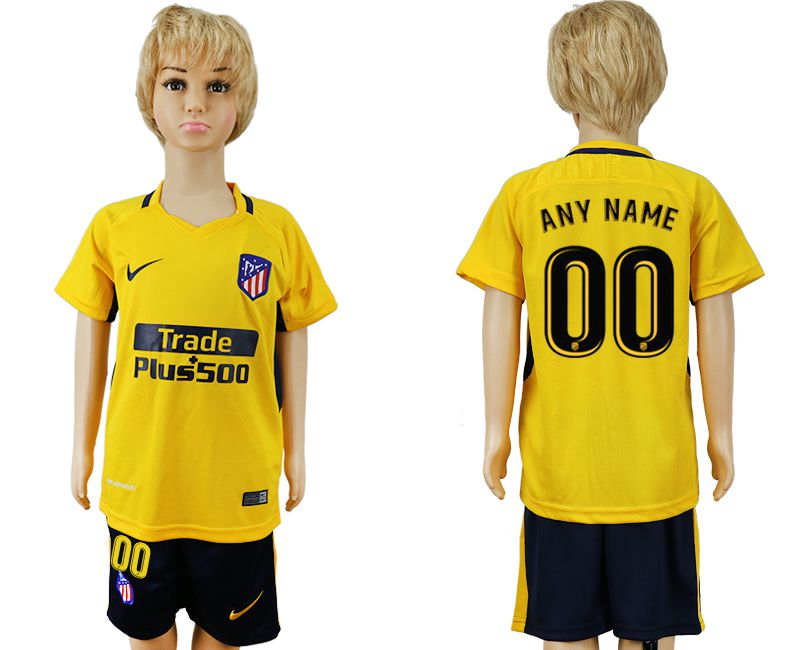 2017-2018 club Atletico Madrid away customized yellow kids soccer jersey