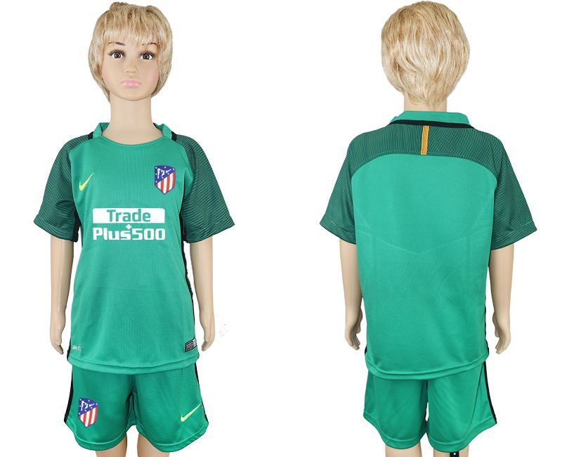 2017-2018 club Atletico Madrid blank green goalkeeper kids soccer jersey