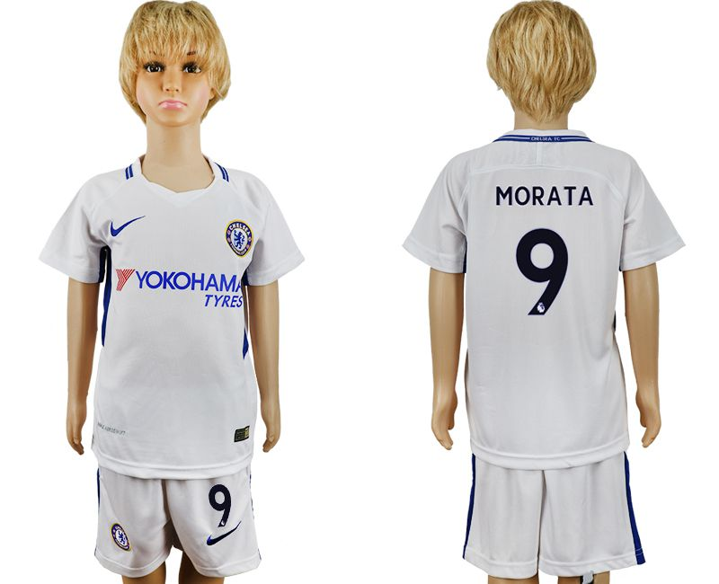 2017-2018 club Chelsea FC away 9 grey kids soccer jersey