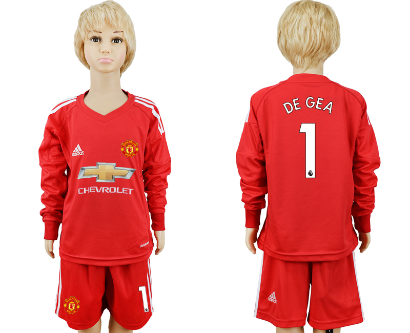 2017-2018 club Manchester United Red 1 long sleeve goalkeeper kids soccer jersey