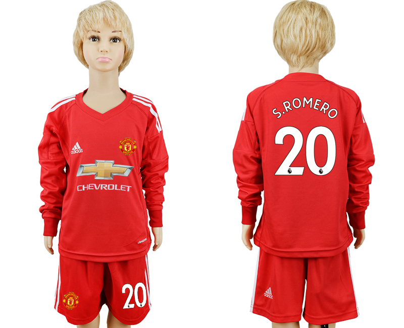2017-2018 club Manchester United Red 20 long sleeve goalkeeper kids soccer jersey
