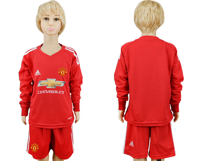 2017-2018 club Manchester United Red blank long sleeve goalkeeper kids soccer jersey