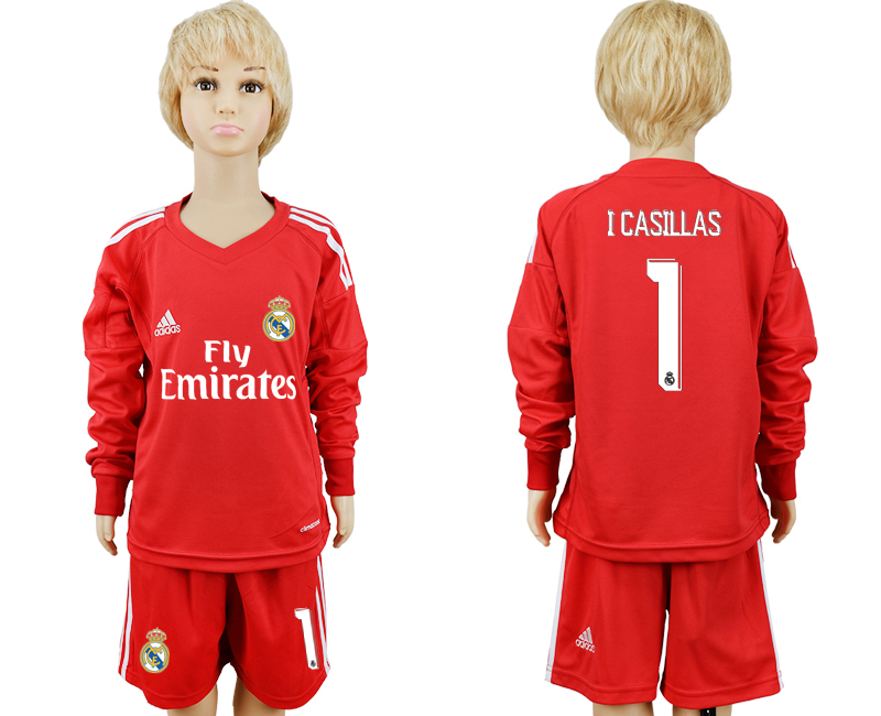 2017-2018 club Real Madrid goalkeeper 1 Long sleeve kids red soccer jersey