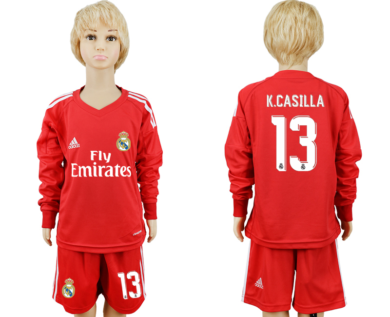 2017-2018 club Real Madrid goalkeeper 13 Long sleeve kids red soccer jersey