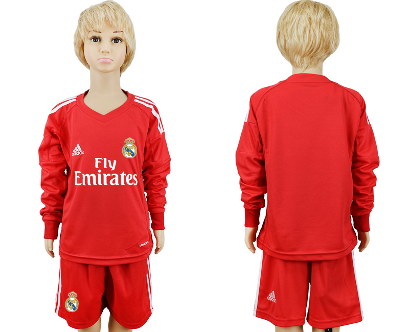 2017-2018 club Real Madrid goalkeeper blank Long sleeve kids red soccer jersey