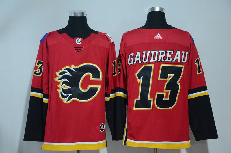 Men 2017 NHL Calgary Flames 13 Gaudreau Red Adidas jersey