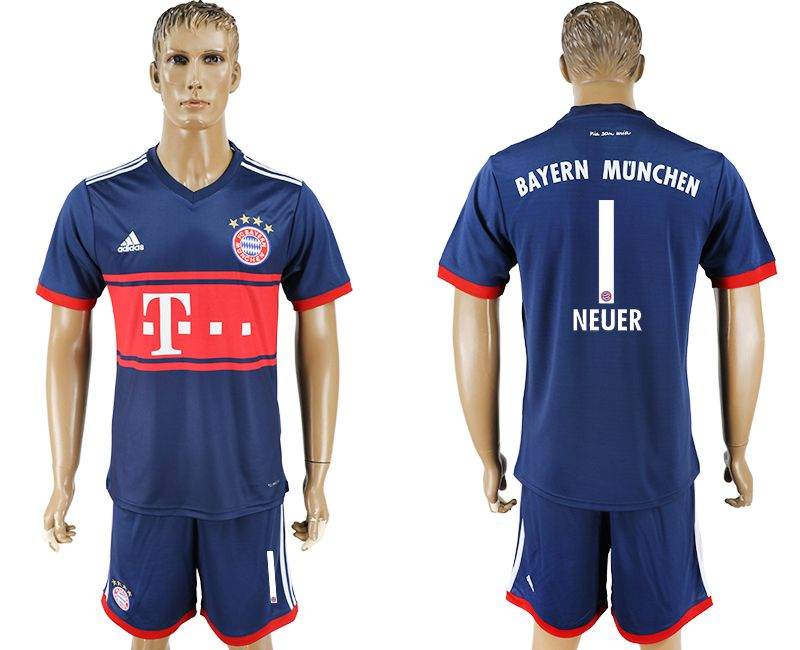 Men 2017-2018 Club Bayern Munich away 1 blue soccer jersey