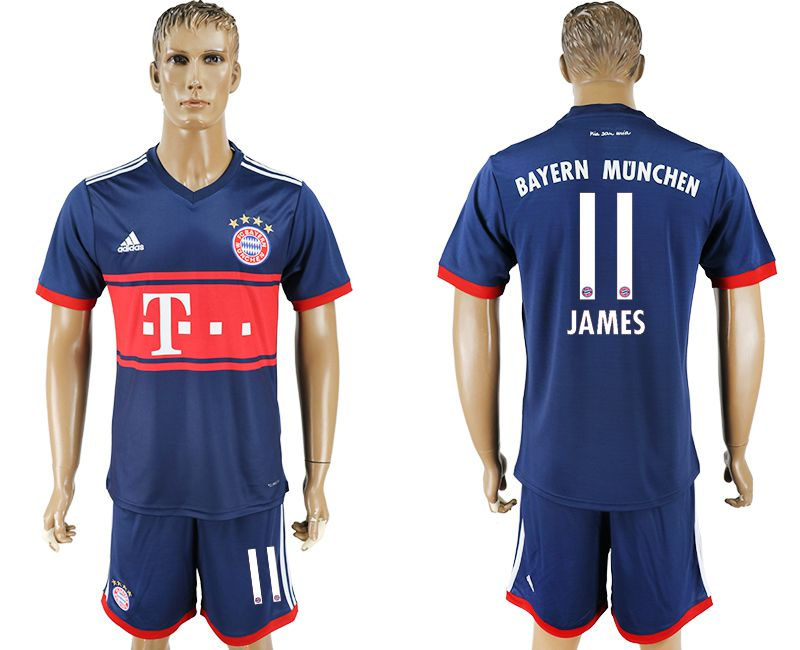 Men 2017-2018 Club Bayern Munich away 11 blue soccer jersey