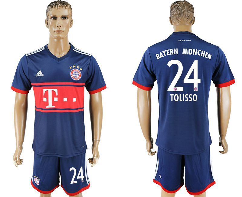 Men 2017-2018 Club Bayern Munich away 24 blue soccer jersey