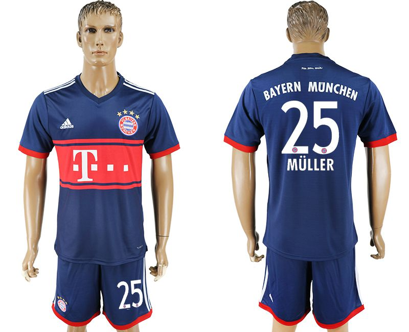 Men 2017-2018 Club Bayern Munich away 25 blue soccer jersey