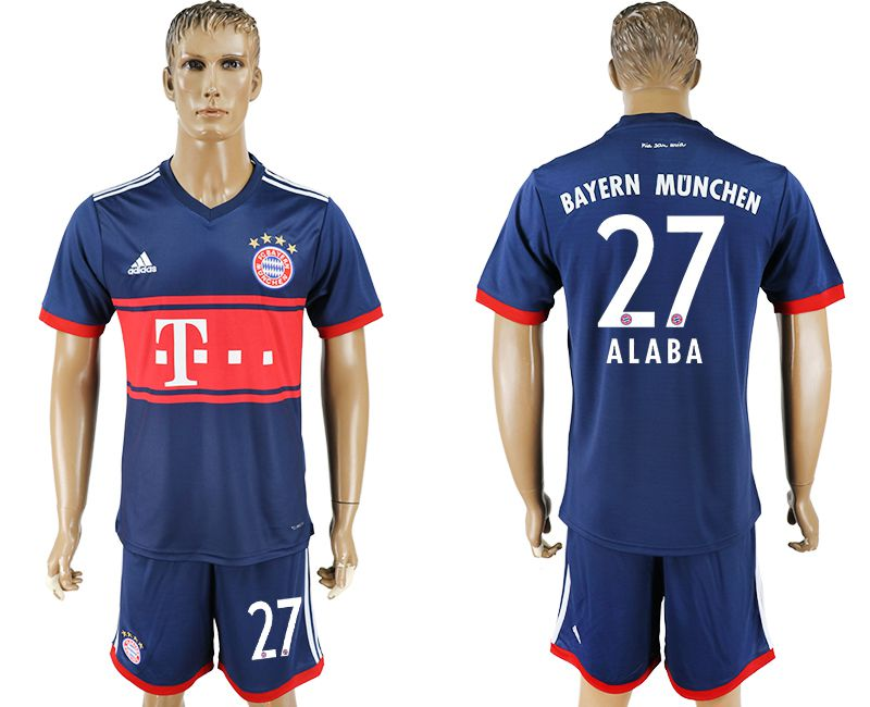 Men 2017-2018 Club Bayern Munich away 27 blue soccer jersey