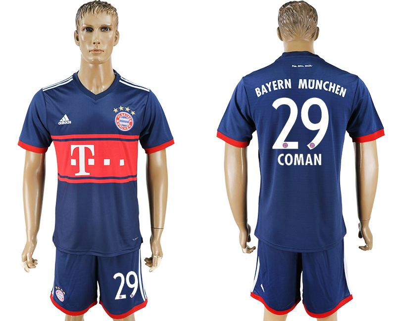 Men 2017-2018 Club Bayern Munich away 29 blue soccer jersey