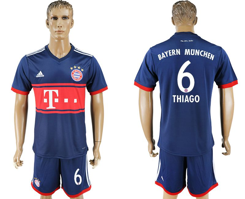 Men 2017-2018 Club Bayern Munich away 6 blue soccer jersey