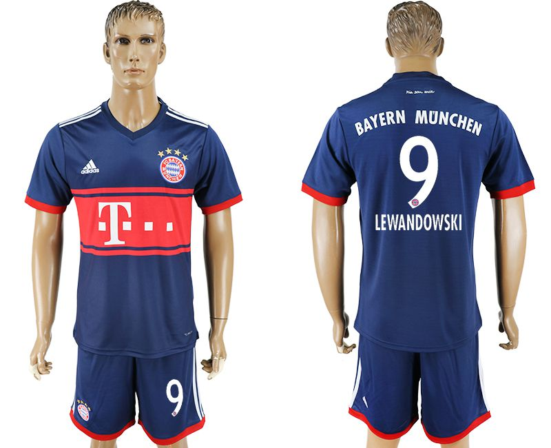 Men 2017-2018 Club Bayern Munich away 9 blue soccer jersey