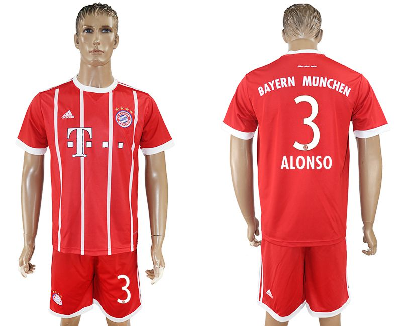 Men 2017-2018 Club Bayern Munich home 3 red soccer jersey