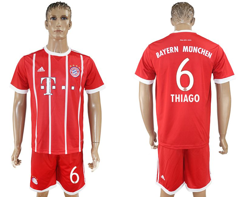 Men 2017-2018 Club Bayern Munich home 6 red soccer jersey