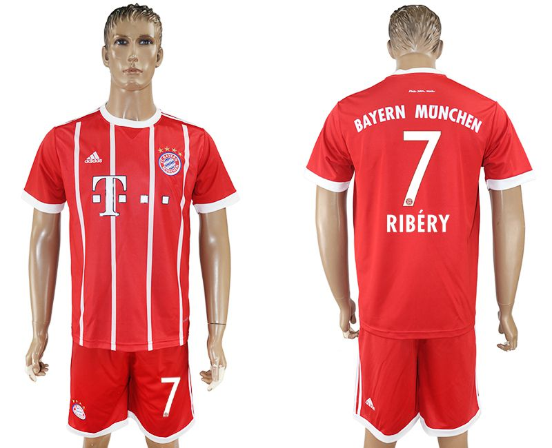 Men 2017-2018 Club Bayern Munich home 7 red soccer jersey