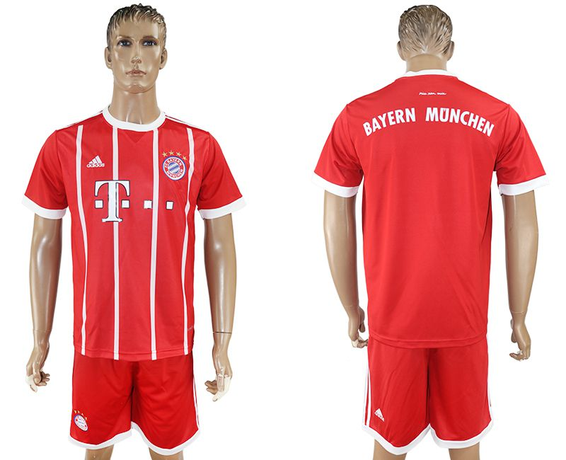 Men 2017-2018 Club Bayern Munich home blank red soccer jersey