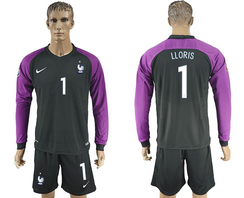 Men 2017-2018 National France goalkeeper 1 black long sleeve soccer jersey
