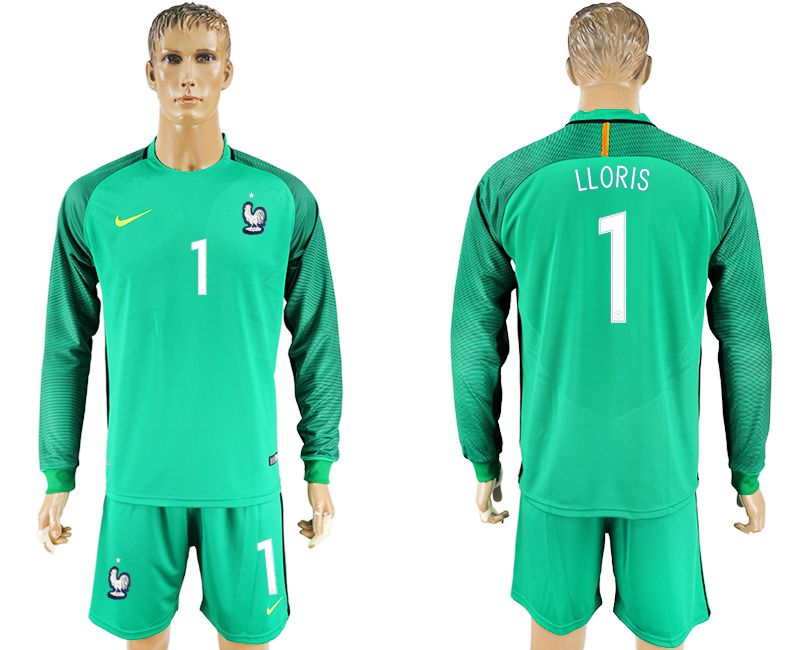 Men 2017-2018 National France goalkeeper 1 green long sleeve soccer jersey