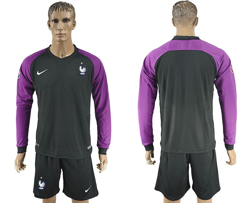 Men 2017-2018 National France goalkeeper Blank black long sleeve soccer jersey